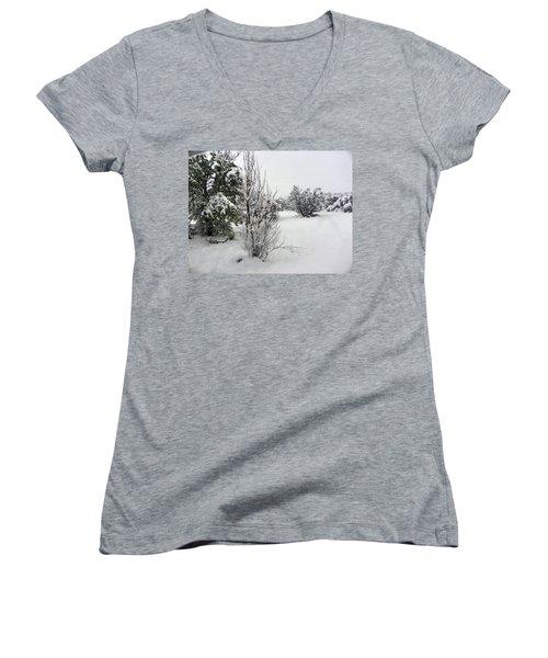 Santa Fe Snowstorm 2017 Women's V-Neck T-Shirt (Junior Cut) by Joseph Frank Baraba