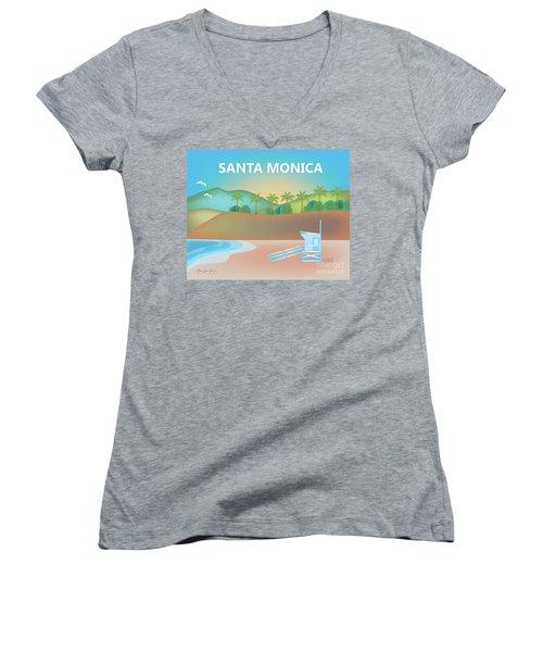 Santa Monica California Horizontal Scene Women's V-Neck T-Shirt