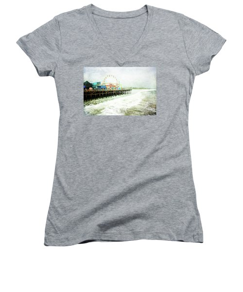 Santa Monica Pier Women's V-Neck (Athletic Fit)