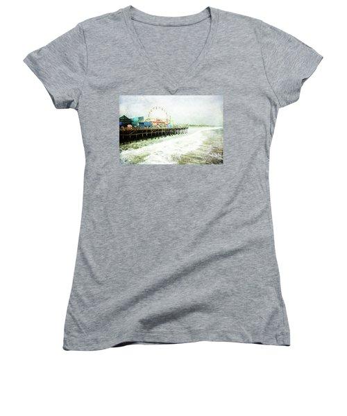 Santa Monica Pier Women's V-Neck T-Shirt