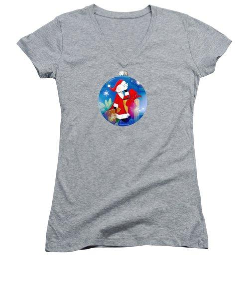 Santa Mouse Child's Shirt Women's V-Neck (Athletic Fit)