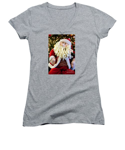 Santa Takes A Seat Women's V-Neck (Athletic Fit)