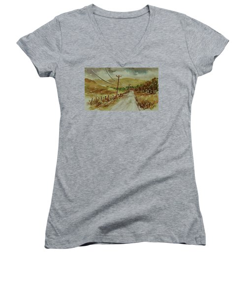 Women's V-Neck T-Shirt featuring the painting Santa Teresa County Park California Landscape 1 by Xueling Zou