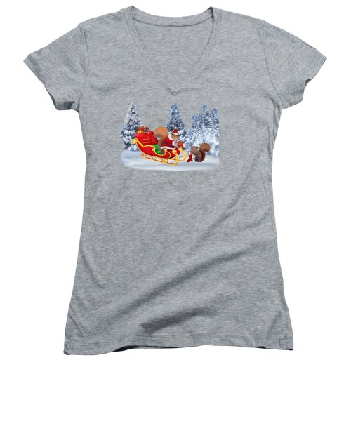 Santa's Little Helper Women's V-Neck T-Shirt (Junior Cut) by Glenn Holbrook