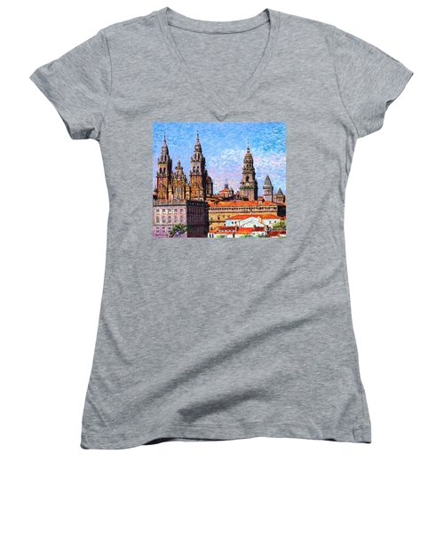Women's V-Neck T-Shirt (Junior Cut) featuring the painting Santiago De Compostela, Cathedral, Spain by Jane Small