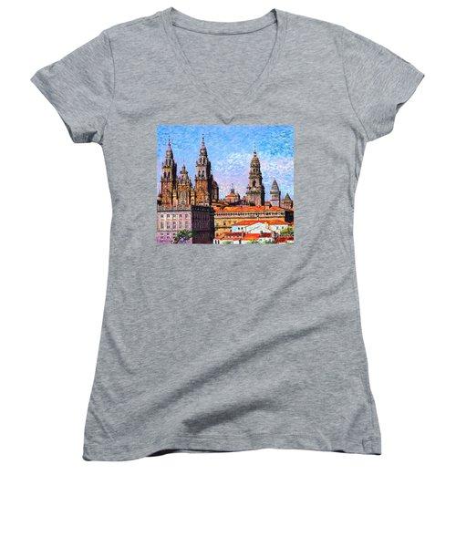 Santiago De Compostela, Cathedral, Spain Women's V-Neck T-Shirt (Junior Cut) by Jane Small