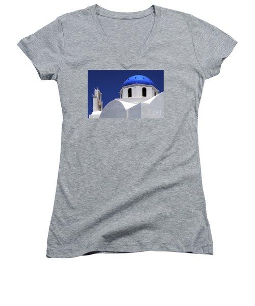 Women's V-Neck T-Shirt (Junior Cut) featuring the photograph Santorini Greece Architectual Line 2 by Bob Christopher