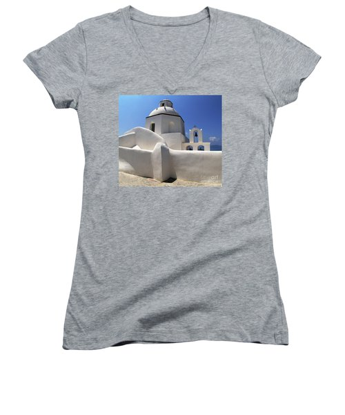 Women's V-Neck T-Shirt (Junior Cut) featuring the photograph Santorini Greece Architectual Line 4 by Bob Christopher