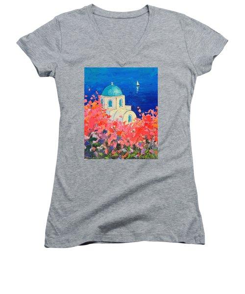 Santorini Impression - Full Bloom In Santorini Greece Women's V-Neck T-Shirt (Junior Cut) by Ana Maria Edulescu