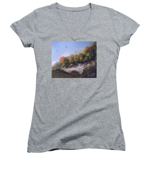 Soaring Over The North Rim, Autumn Women's V-Neck (Athletic Fit)