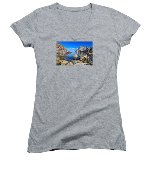 Sardinia - Calafico Bay  Women's V-Neck T-Shirt (Junior Cut) by Antonio Scarpi