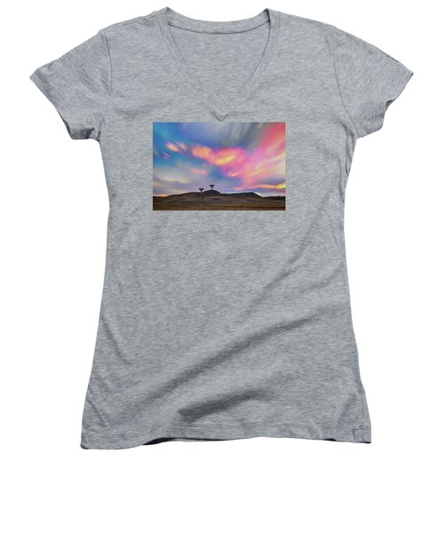 Women's V-Neck T-Shirt (Junior Cut) featuring the photograph Satellite Dishes Quiet Communications To The Skies by James BO Insogna