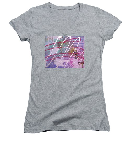Satellites Women's V-Neck T-Shirt (Junior Cut) by Melissa Goodrich