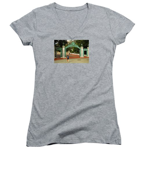 Sather Gate Berkeley Women's V-Neck T-Shirt (Junior Cut) by James Kirkikis