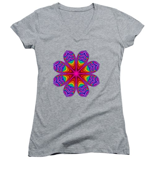 Satin Fractal Flower 3 Women's V-Neck