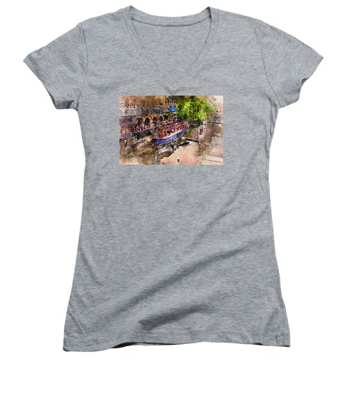 Saturday Afternoon At Camden Lock Women's V-Neck T-Shirt (Junior Cut) by Nicky Jameson
