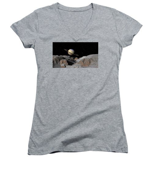 Saturn From The Moon Dione Women's V-Neck