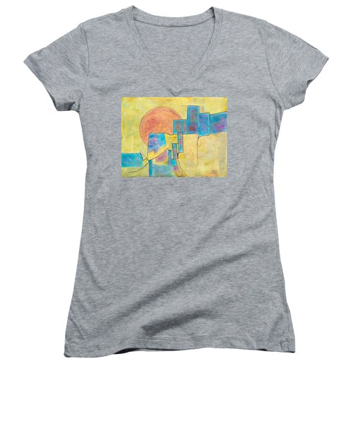 Women's V-Neck T-Shirt (Junior Cut) featuring the painting Sausalito by Nancy Jolley