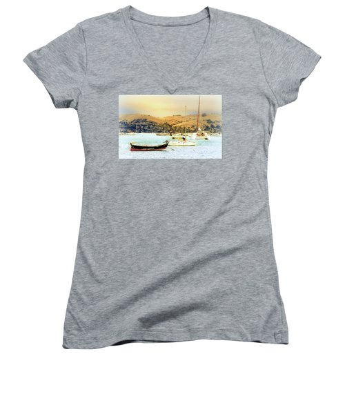 Women's V-Neck T-Shirt (Junior Cut) featuring the photograph Sausalito Sailboats by Laura DAddona