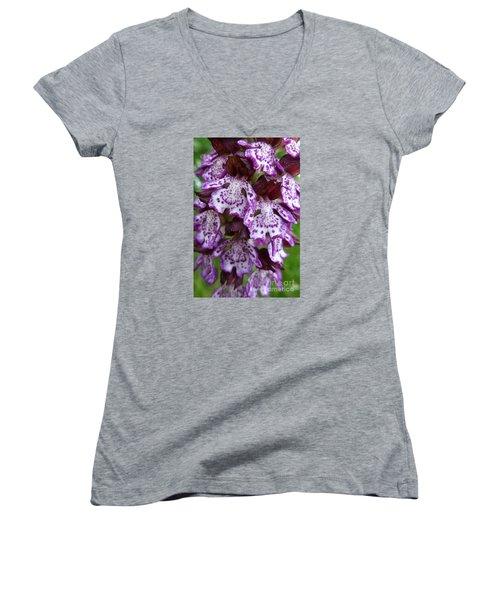 Savage Orchid 2 Women's V-Neck T-Shirt (Junior Cut) by Jean Bernard Roussilhe