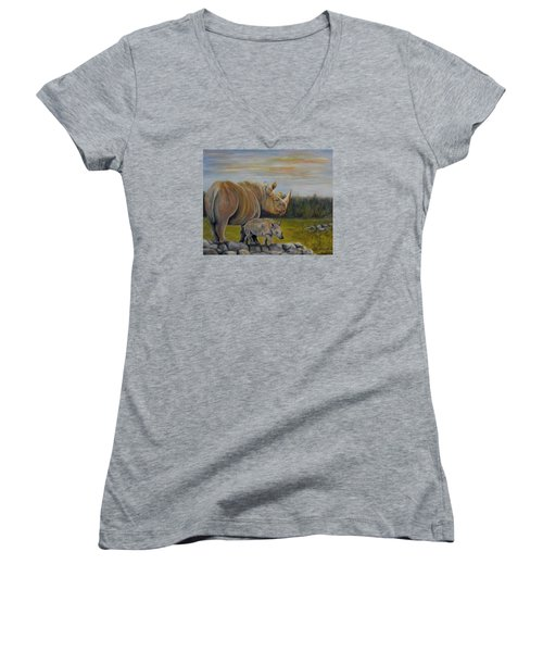 Savanna Overlook, Rhinoceros  Women's V-Neck T-Shirt