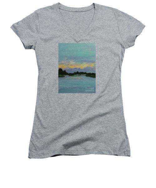 Savannah Sunrise Women's V-Neck T-Shirt (Junior Cut) by Gail Kent