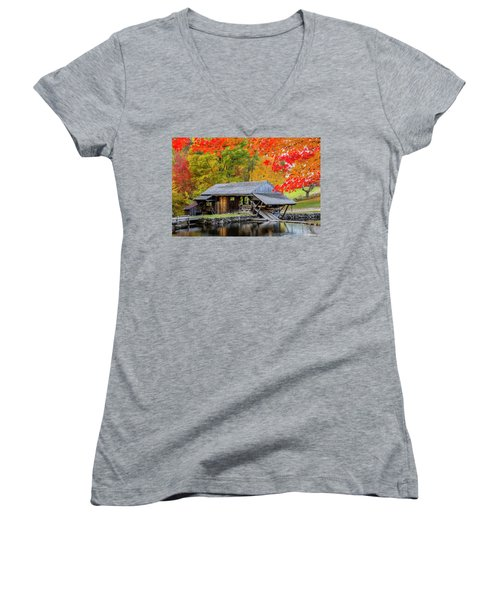 Sawmill Reflection, Autumn In New Hampshire Women's V-Neck T-Shirt (Junior Cut) by Betty Denise