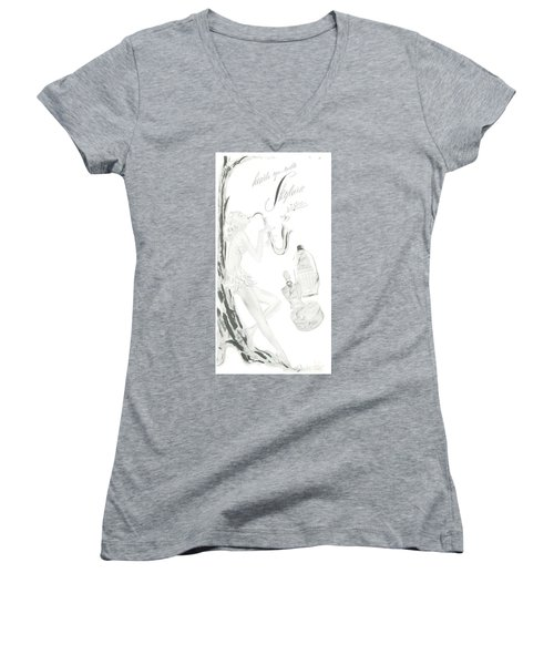 Women's V-Neck (Athletic Fit) featuring the digital art Sax Girl by ReInVintaged