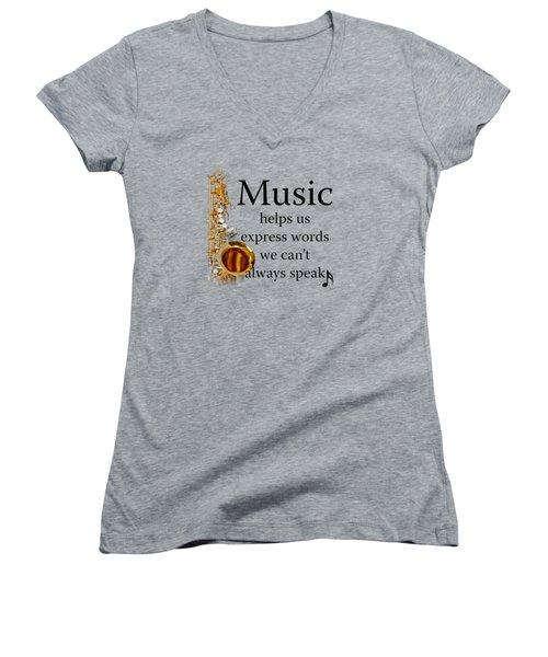 Saxophones Express Words Women's V-Neck T-Shirt (Junior Cut) by M K  Miller