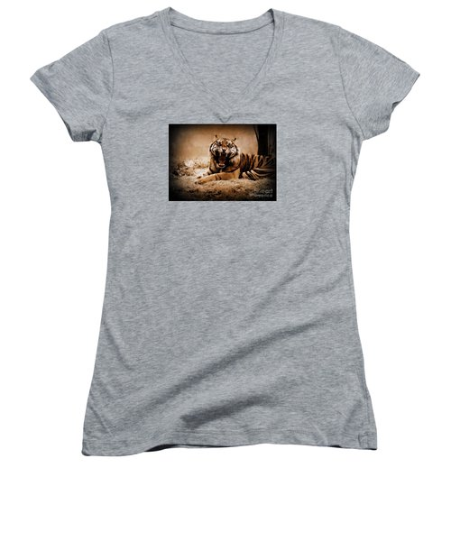 Women's V-Neck T-Shirt (Junior Cut) featuring the photograph Saying Hello by Lisa L Silva