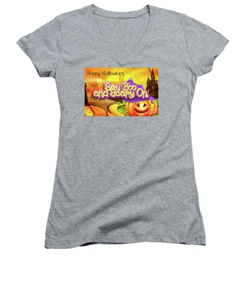Scary On Women's V-Neck T-Shirt (Junior Cut) by Mo T
