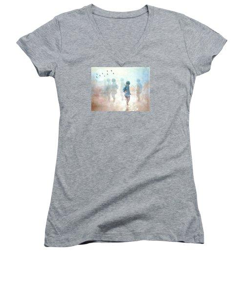 Scavenger--holding The Earth Women's V-Neck T-Shirt
