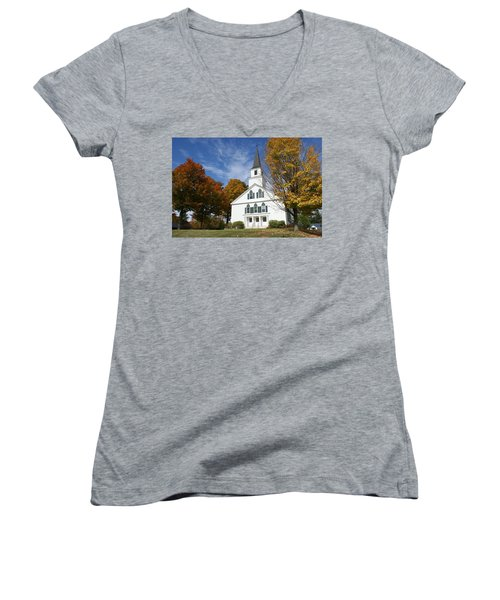 Women's V-Neck T-Shirt (Junior Cut) featuring the photograph Scenic Church In Autumn by Lois Lepisto