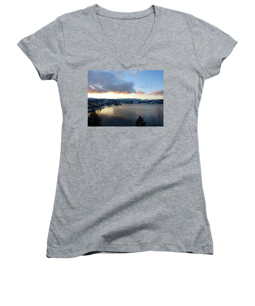 Women's V-Neck T-Shirt (Junior Cut) featuring the photograph Scenic Lake Country by Will Borden