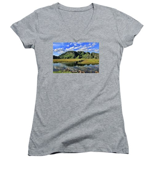 Scenic Route  Women's V-Neck T-Shirt (Junior Cut) by Chuck Kuhn