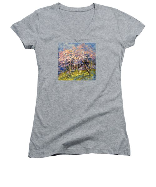 Scented Blooms Women's V-Neck T-Shirt (Junior Cut) by Tatiana Iliina