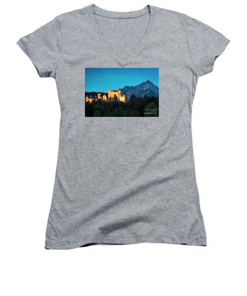 Women's V-Neck T-Shirt (Junior Cut) featuring the photograph Schloss Hohenschwangau by Brian Jannsen
