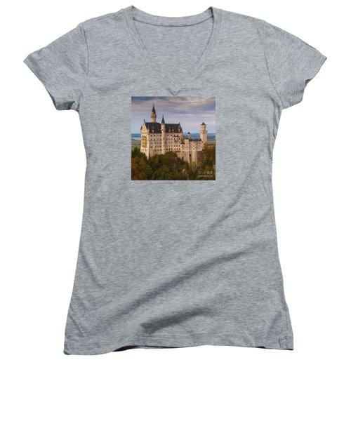 Schloss Neuschwanstein Women's V-Neck T-Shirt (Junior Cut) by Franziskus Pfleghart