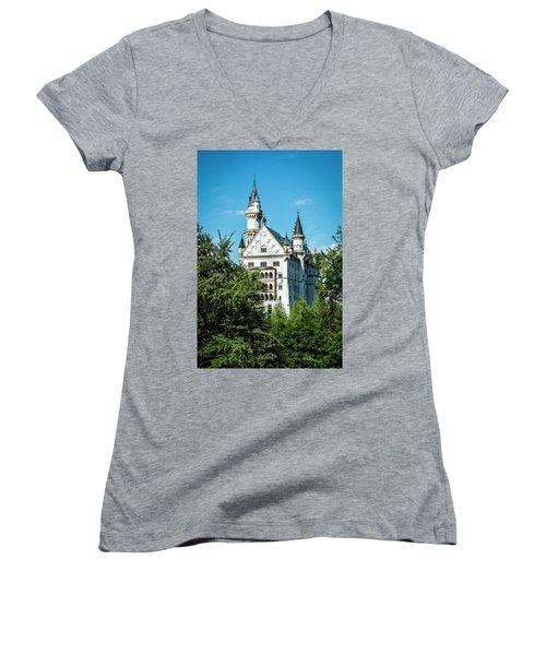 Women's V-Neck T-Shirt (Junior Cut) featuring the photograph Schloss Neuschwantstein by David Morefield