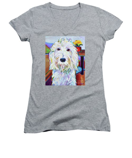 Women's V-Neck T-Shirt (Junior Cut) featuring the painting Schnoodle by Robert Phelps