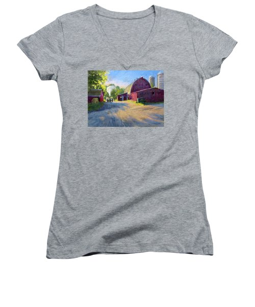 Schober's Barn At Sunset Women's V-Neck (Athletic Fit)