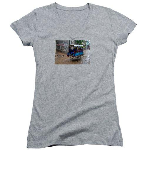 School Cart Women's V-Neck T-Shirt (Junior Cut) by M G Whittingham