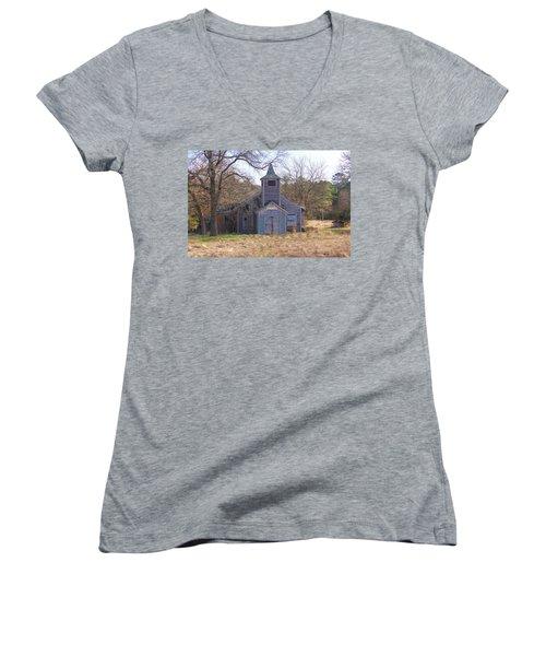 Schoolhouse#3 Women's V-Neck T-Shirt (Junior Cut) by Susan Crossman Buscho