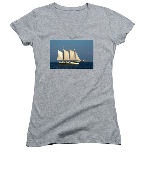 Schooner By Fort Sumter Women's V-Neck T-Shirt
