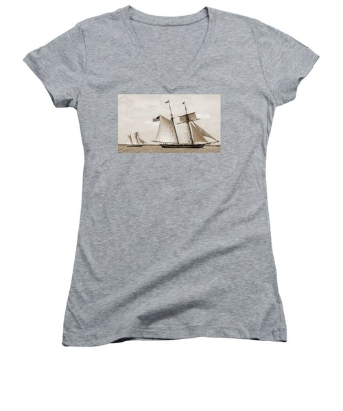 Schooners Pride Of Baltimore And Lynx Women's V-Neck