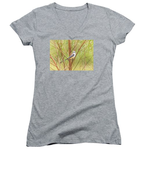 Women's V-Neck T-Shirt (Junior Cut) featuring the photograph Scissortail In Scrub by Robert Frederick