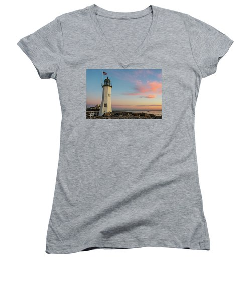 Scituate Lighthouse Scituate Massachusetts South Shore At Sunrise Women's V-Neck (Athletic Fit)