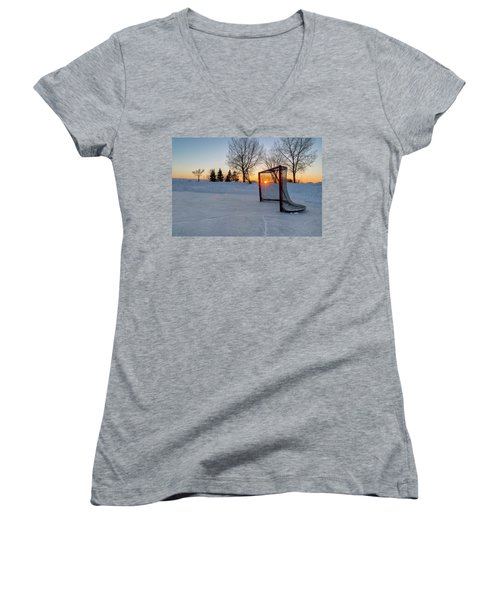 Women's V-Neck T-Shirt (Junior Cut) featuring the photograph Scoring The Sunset 2 by Darcy Michaelchuk