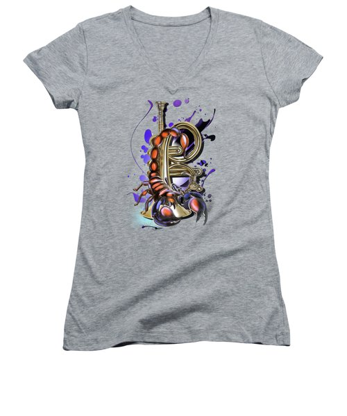 Scorpio Women's V-Neck T-Shirt (Junior Cut) by Melanie D