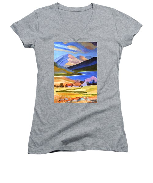 Women's V-Neck T-Shirt (Junior Cut) featuring the painting Scottish Highlands 2 by Magdalena Frohnsdorff